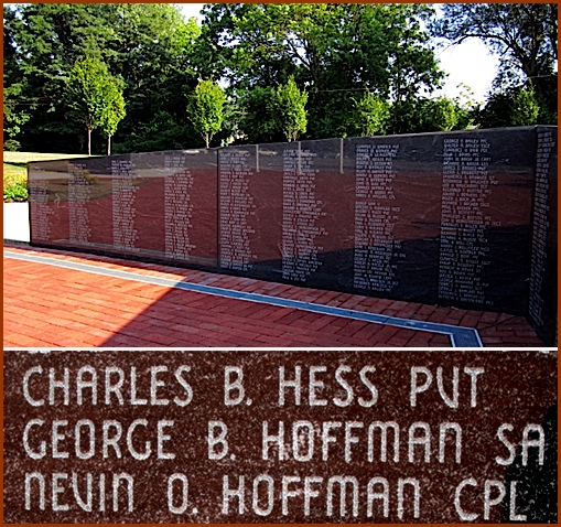The WWI section within Veterans Memorial Gold Star Healing and Peace Garden, York, PA and Close-up of Memorial Inscription for George B. Hoffman (2014 Photo, S. H. Smith)