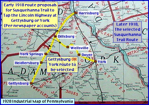Adams & York County view of 1928 Thayer's Industrial Map of Pennsylvania (Source: Penn State Map Room; Annotations by S. H. Smith, 2014)