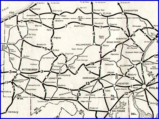 1925 Map of Major Pennsylvania Route Numbers in booklet Pennsylvania Facts Motorists Should Know, published by Department of Highways, Harrisburg PA in 1925. (Source: Penn State University Library)