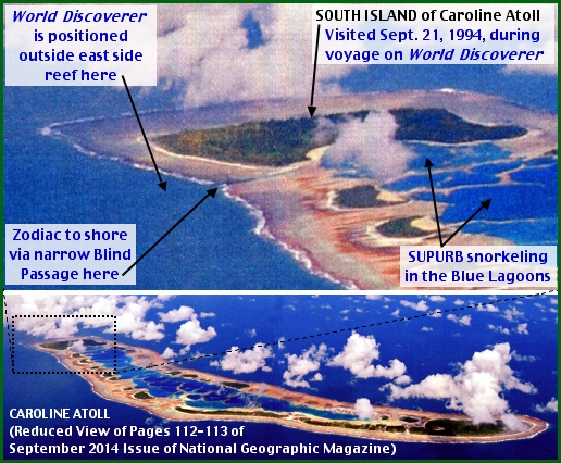 Caroline Atoll from September 2014 Issue of National Geographic Magazine (Annotated by S. H. Smith, 2014)