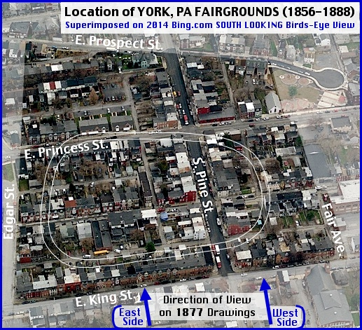 Location of York, PA Fairgrounds (1856-1888), Superimposed on 2014 Bing.com SOUTH LOOKING Birds-Eye View (Arrangement by S. H. Smith, 2014)