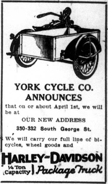 York Cycle Company Ad in the March 22nd, 1928 issue of The Gazette & Daily
