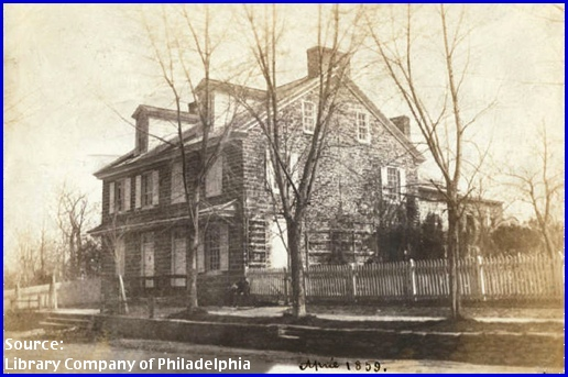 Michael Billmeyer House on Germantown Avenue (April 1859 Photo by Frederick DeBourg Richards, Library Company of Philadelphia)