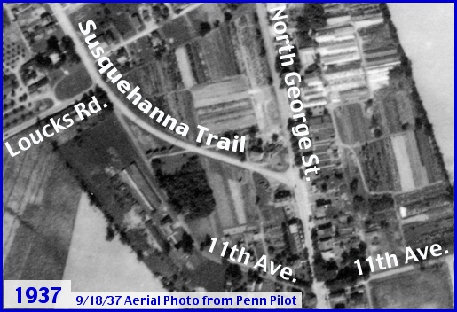 September 18, 1937 Aerial Photo of the North George Street area north of North York (Source is Penn Pilot web site; Street Names added by S. H. Smith, 2013)
