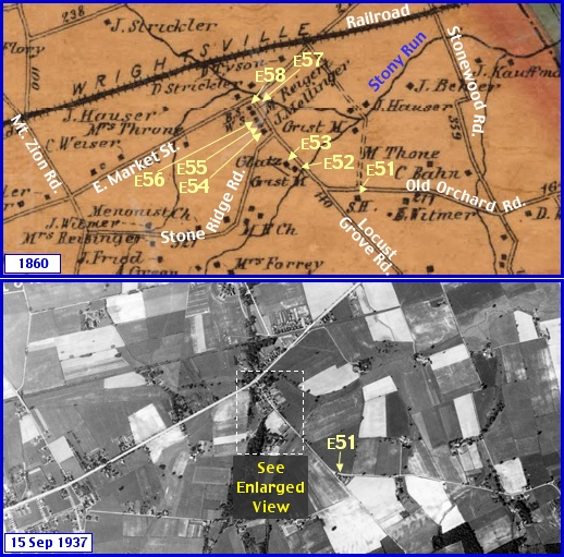 Stony Brook Region in what is now Springettsbury Township; from Shearer's 1860 Map of York County, PA & Penn Pilot Aerial Photo, from Sept. 15, 1937, of Same Area (Annotations by S. H. Smith, 2014)