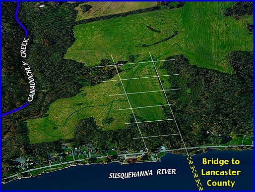 Westward Looking, Birds Eye View of southern end of Native Lands County Park in Long Level area of Lower Windsor Township (2014 Bing.com Birds Eye View; Annotations by S. H. Smith, 2014)