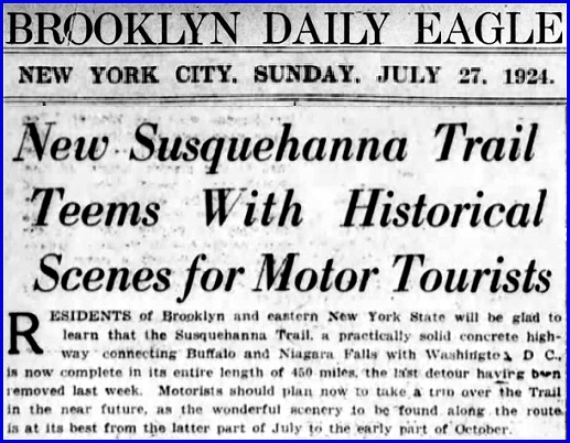 Article in July 27, 1924 issue of the Brooklyn Daily Eagle, New York City