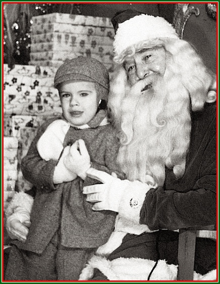 Stephen H. Smith with Santa Claus in The Bon-Ton Toyland; downtown York, PA, during 1952 (Collection of S. H. Smith)