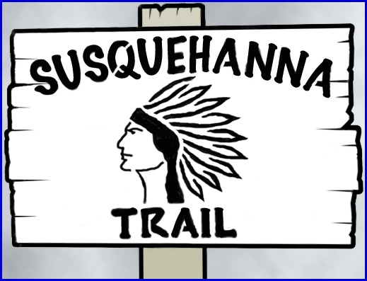 Visualization of an early Susquehanna Trail roadside marker (2014 S. H. Smith design from descriptive bits and pieces within 1919 through 1924 newspaper articles)