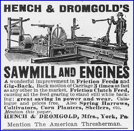 1898 Hench & Dromgold Ad in The American Thresherman (Collections of S. H. Smith)