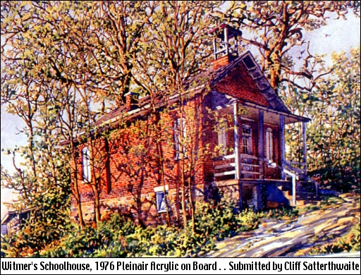 1976 Painting of Witmer's One-Room Schoolhouse by Cliff Satterthwaite