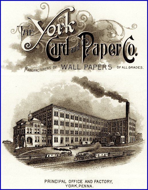 Illustrations from 1898 dated Letterhead of The York Card & Paper Company (Collections of S. H. Smith)