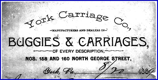York Carriage Company letterhead dated 8/20/1889 (From the collections of the York County Heritage Trust)