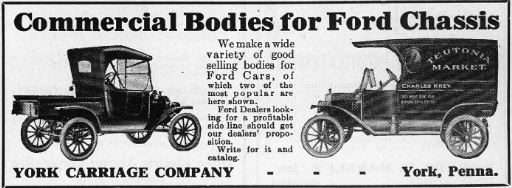 York Carriage Company ad from 1916 Automobile Trade Journal (Collections of S. H. Smith)
