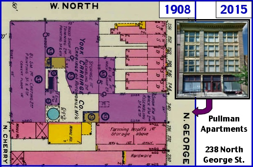1908 Sanborn Fire Insurance Map of York, PA, along the west side of North George Street bounded by North Street and Cherry Alley (Map sections from Penn State Libraries on-line digital collection of older Sanborn Fire Insurance Maps)