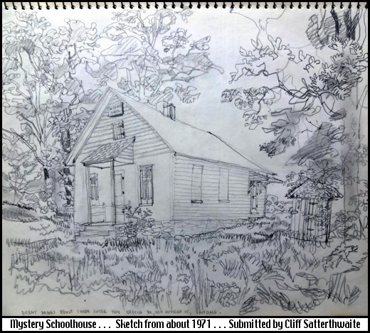 Plein-Air Pencil Drawing of One-Room Schoolhouse (Drawn about 1971 by Cliff Satterthwaite)