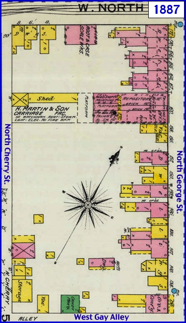 1887 Sanborn Fire Insurance Map of York, PA, along the west side of North George Street between North Street and Gay Alley and bounded by Cherry Alley (Map sections from Penn State Libraries on-line digital collection of older Sanborn Fire Insurance Maps)