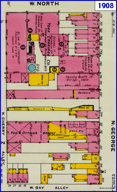 1908 Sanborn Fire Insurance Map of York, PA, along the west side of North George Street between North Street and Gay Alley and bounded by Cherry Alley (Map sections from Penn State Libraries on-line digital collection of older Sanborn Fire Insurance Maps)