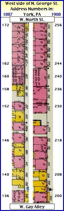 West side of N. George Street address numbers from 1887 and 1908 Sanborn Fire Insurance Maps (Map sections from Penn State Libraries on-line digital collection of older Sanborn Fire Insurance Maps; Arrangement by S. H. Smith, 2015)