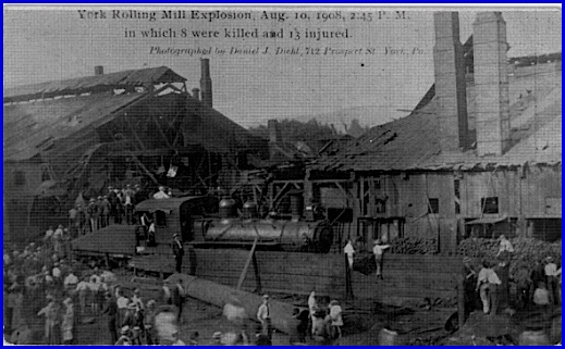 York Rolling Mill Explosion (Postcard from Collections of S. H. Smith)