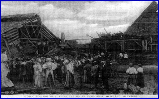 York Rolling Mill, After The Boiler Explosion, 10 Killed, 19 Injured (Collections of York County Heritage Trust)