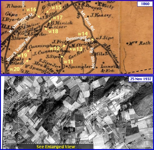 Deininger Road and western Druck Valley Road Region in what is now Springettsbury Township; from Shearer's 1860 Map of York County, PA & Penn Pilot Aerial Photo, from Nov. 25, 1937, of Same Area (Annotations by S. H. Smith, 2015)