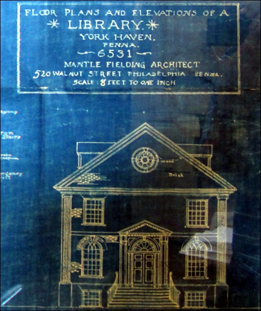 Part of a framed Blueprint hanging in York Haven Borough offices (2015 Photo, S. H. Smith)