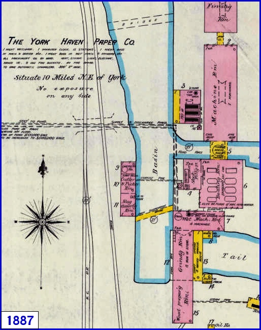 1887 Sanborn Fire Insurance Map of York Haven, York County, PA, (Map sections from Penn State Libraries on-line digital collection of older Sanborn Fire Insurance Maps)