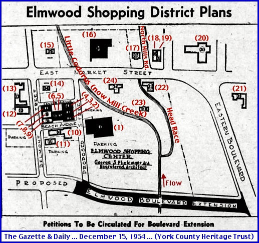 Sketch of Elmwood Area of East York in The Gazette & Daily issue of December 15, 1954 (Red Annotations added for clarification by S. H. Smith, 2015)