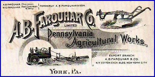 A. B. Farquhar Company Letterhead, Circa 1889 (Collections of S. H. Smith)