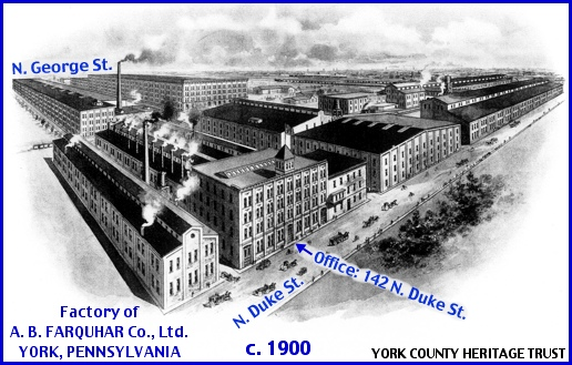 Bird's Eye View of A. B. Farquhar Company along North Duke Street in York, PA, Circa 1900 (Collections of York County Heritage Trust, Annotations by S. H. Smith, 2015)
