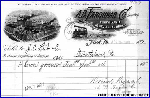 A. B. Farquhar Company Invoice dated April 3, 1897 (Collections of York County Heritage Trust)