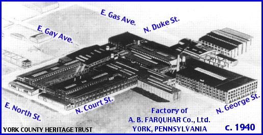 Southeast Looking Bird's Eye View of A. B. Farquhar Company in York, PA, Circa 1940 (Collections of York County Heritage Trust, Annotations by S. H. Smith, 2015)