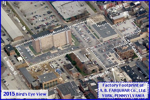 Eastward Looking 2015 Bing.com Bird's Eye View, with the addition of the Factory Footprint of the A. B. Farquhar Company in York, PA (Annotations by S. H. Smith, 2015)