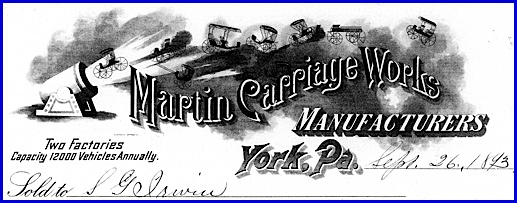 Receipt Letterhead of Martin Carriage Works, dated September 26, 1893 (From Collections of York County Heritage Trust)