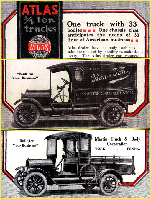 Illustrations in a 1918 Automotive Trade Journal ad for Atlas 3/4-Ton Commercial Trucks produced by the Martin Truck & Body Corporation (Collections of S. H. Smith)