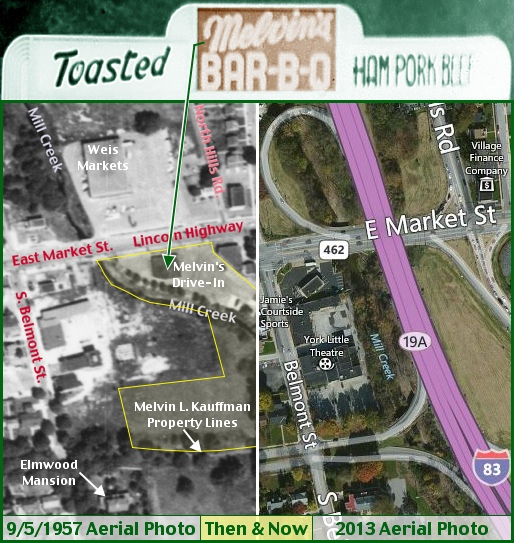 Then & Now Split-Screen Aerial Photos at Intersection of I-83 and East Market Street in East York, PA (9/5/1957 Aerial Photo from Penn Pilot web site and 2013 Aerial Photo from Bing.com; Layout & Annotations by S. H. Smith, 2013)