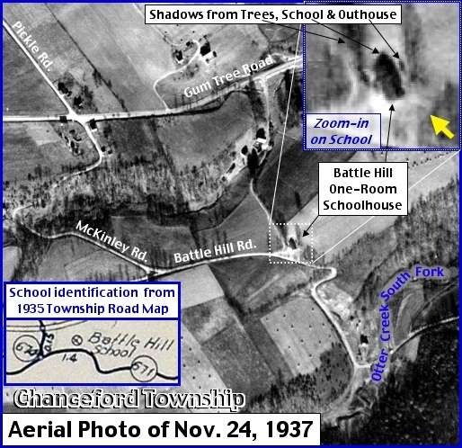 November 24, 1937, Aerial Photo of Battle Hill Road section of Chanceford Township, York County, PA (Aerial Photo from Penn Pilot, Annotated by S. H. Smith, 2015)