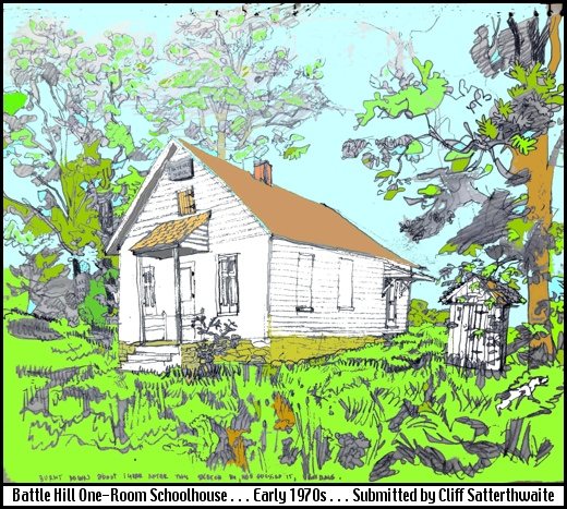 Artwork of Battle Hill One-Room Schoolhouse in Chanceford Township, York County, PA (Drawn early 1970s by Cliff Satterthwaite)
