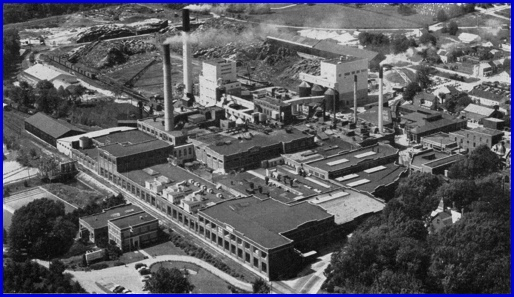 "Northwest Looking View of the P. H. Glatfelter Paper Mill in Spring Grove (""York, Pennsylvania. A Dynamic Community Forges Ahead,"" published by the York Chamber of Commerce, 1957. Page 134)"