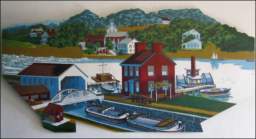Cliff Satterthwaite Mural; Looking from York Haven across the Susquehanna River towards Lancaster County (Photo of mural hanging in York Haven Borough Hall, S. H. Smith, 2015)
