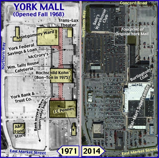 1971 and 2014 Aerial Photos of York Mall area of Springettsbury Township, York County, PA (Penn Pilot 8/11/1971 Aerial Photo and Bing.com 2014 Aerial Photo; Annotated by S. H. Smith, 2015)