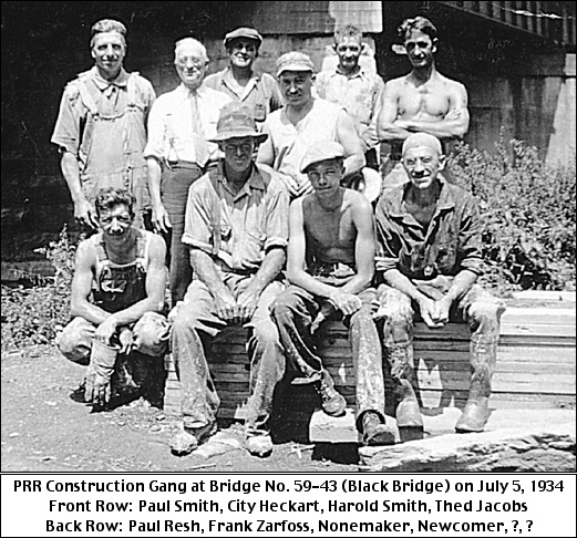 Pennsylvania Railroad Construction Gang at Bridge No. 59-43 (Black Bridge) on July 5, 1934 (Collection of S. H. Smith)