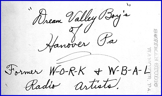 Back of Promotional Photo of Dream Valley Boy's of Hanover PA (S. H. Smith Collections)
