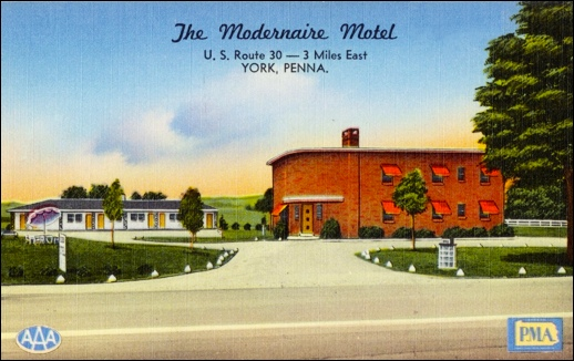 Circa 1950s Postcard of the Modernaire Motel in Springettsbury Township (Digital Postcard Collections of Boston Public Library)