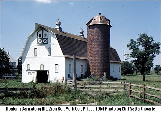 Southwest view of Avalong Barn along Mt. Zion Road in Springettsbury Township (1964 Photo by Cliff Satterthwaite)