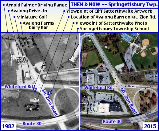 THEN & NOW Aerial Photos at the intersection of Mt. Zion Road and Whiteford Road in Springettsbury Township (THEN photo from York County Archives and NOW photo from Bing.com; Annotations by S. H. Smith, 2015)