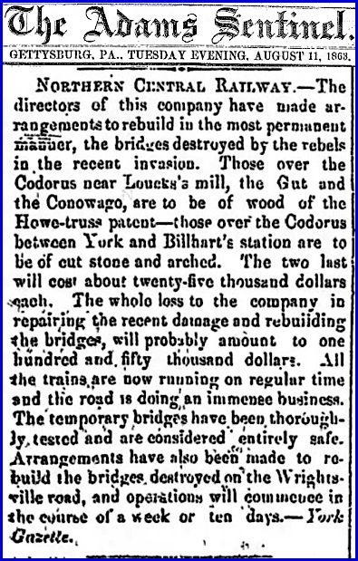 Article on Northern Central Railway Bridges (The Adams Sentinel, Gettysburg, Pa., August 11, 1863)
