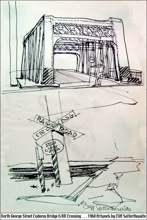 North George Street Codorus Creek Bridge & Railroad Crossing (1968 Artwork by Cliff Satterthwaite)