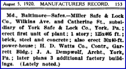 Item in Industrial Development and Manufacturers Record (Issue of August 5, 1920; Page 153)
